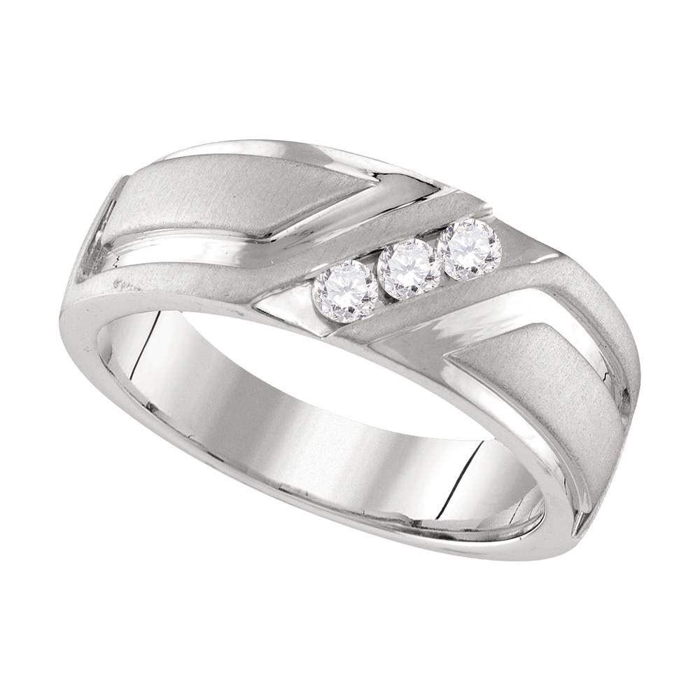 10k White Gold Mens Round Diamond Wedding Anniversary Band Ring 1/4 Cttw - $899.00