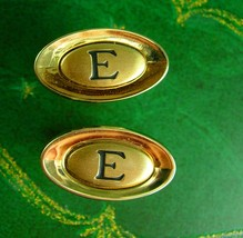 Big and Bold Monogrammed Cufflinks Vintage Initial E Tie Clip Men's Shields gold - $75.00