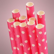 Hot Pink Polka Dot Paper Straws (Pack of 10) - €4,01 EUR