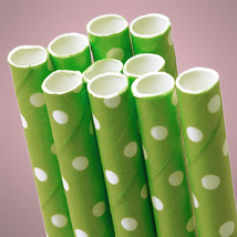 Green Polka Dot Paper Straws (Pack of 10) - €4,01 EUR