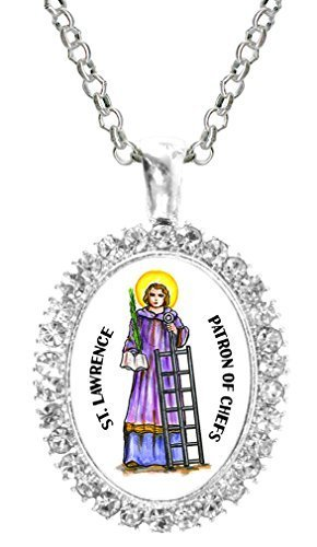 St Lawrence Patron of Chefs Cz Crystal Silver Necklace Pendant