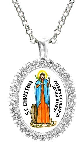 St Christina Patron of Healing Mental Illness Cz Crystal Silver Necklace Pendant