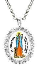 St Christina Patron of Healing Mental Illness Cz Crystal Silver Necklace... - $19.95