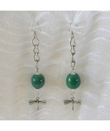 Jade Gemstone Dragonfly Chain Sweeper Earrings New Handmade Pierced Hipp... - £5.94 GBP