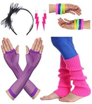 JustinCostume Women's 80s Outfit accessories Neon Earrings Leg Warmers G... - $19.70