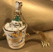 Retired 2000 Christmas Ornament Lenox Collector Champagne in Bucket Gold Tassel - $17.62