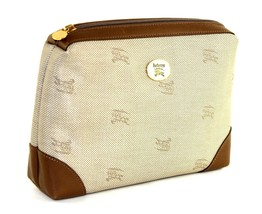Authentic Burberrys Vintage Logos Beige Canvas Brown Leather Clutch Bag Handbag  - $137.61
