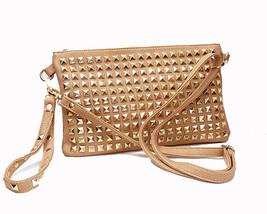Camel Gold Tone Studded Bag Shoulder Cross Body Clutch Purse - $38.41 CAD