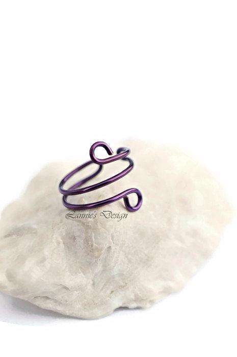 Violet Ear Cuff, No Piercing Wire Wrap Earrings