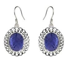 Oval Tanzanite Gemstone 925 Sterling Silver Hook Earring SHER0292 - $12.67