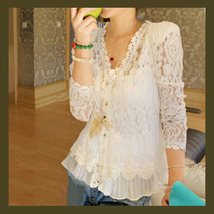 Crochet Ivory Lace V Neck Blouse Three Quarter Sleeve and Shoulder Pads - $51.95