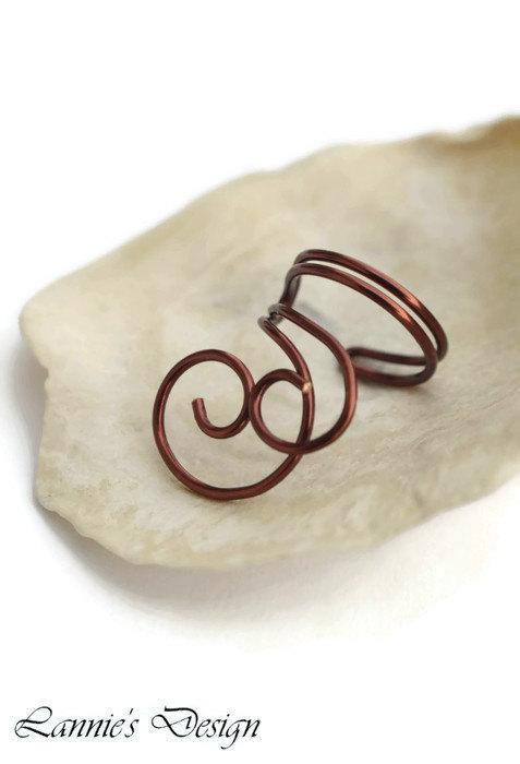 Brown Swirl Ear Cuff, No Piercing Cartilage Earring
