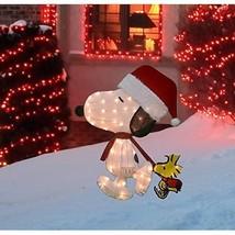 Santa Snoopy w/ Woodstock 32 Inch Pre-Lit Peanuts Christmas Yard Decorat... - $83.84
