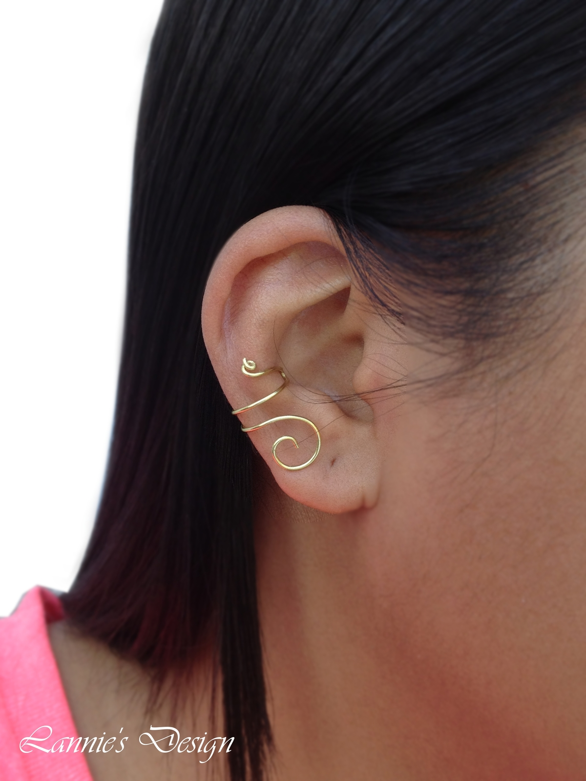Gold Brass Wire Ear Cuff, No Piercing Simple Cartilage Earrings