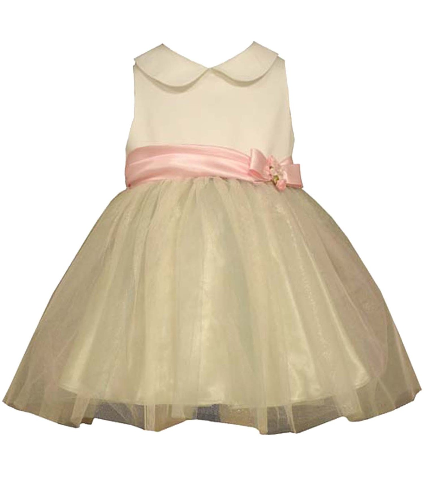 5f4e6ebe99b Baby Girls Newborn Peter Pan Collar Shantung To Tulle Ballerina ...
