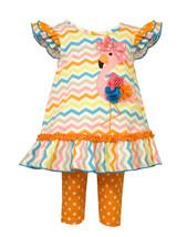 Baby Girls Infant 12M-24M Multi Zig Zag Flamingo Knit Dress/Legging Set