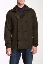 Vince M15027165 Mens Green Wool Double Breasted Notch Collar Sweater Jacket S - $159.99