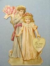VICTORIAN DIE CUT To My Love Valentine's Day Children Pink Rose - $56.43