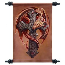 Guardian of the Forest Dragon Wrapped Celtic Cross Canvas Wall Scroll Ta... - $1.099,70 MXN