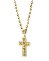 "Mens 14k Gold Plated Cz Jesus Cross Pendant Hip-Hop 24"" Rope Link Neckla... - $13.85"