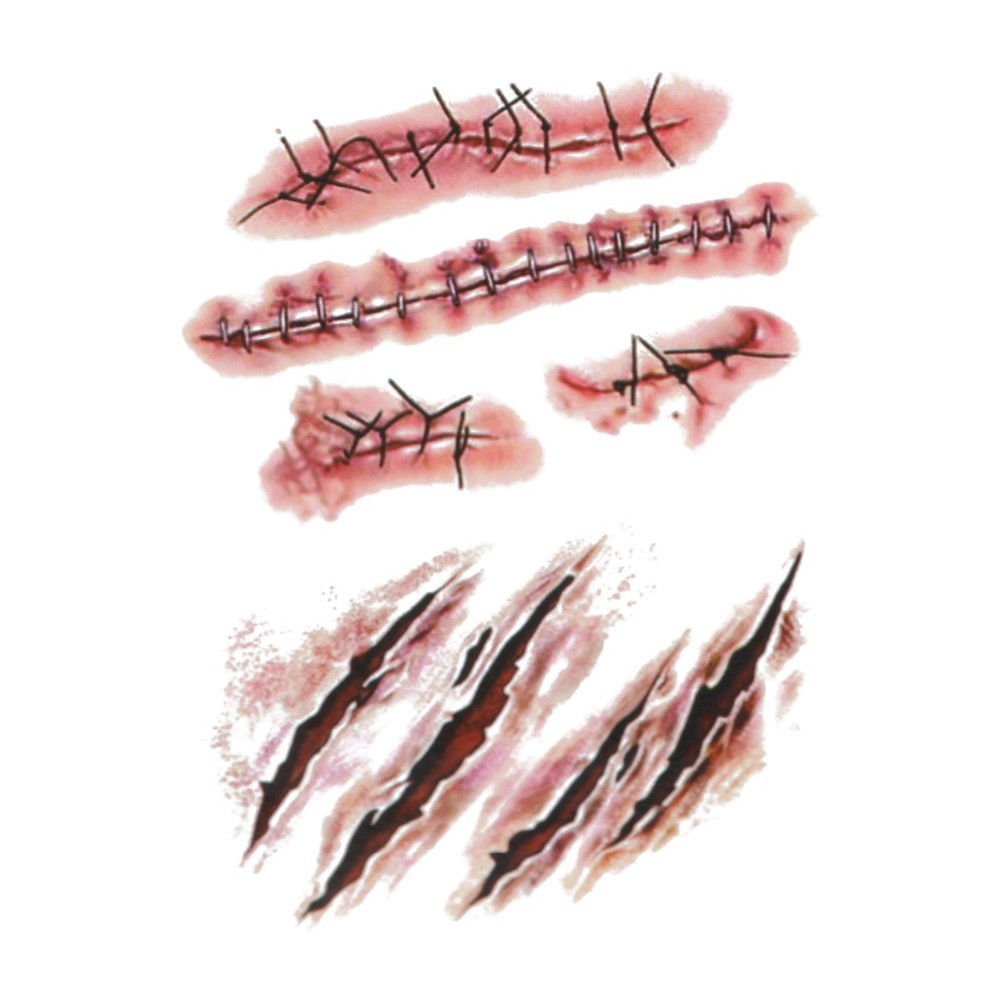 50PC-Halloween Zombie Scars Tattoos With Fake Scab Blood Special Costume Makeup