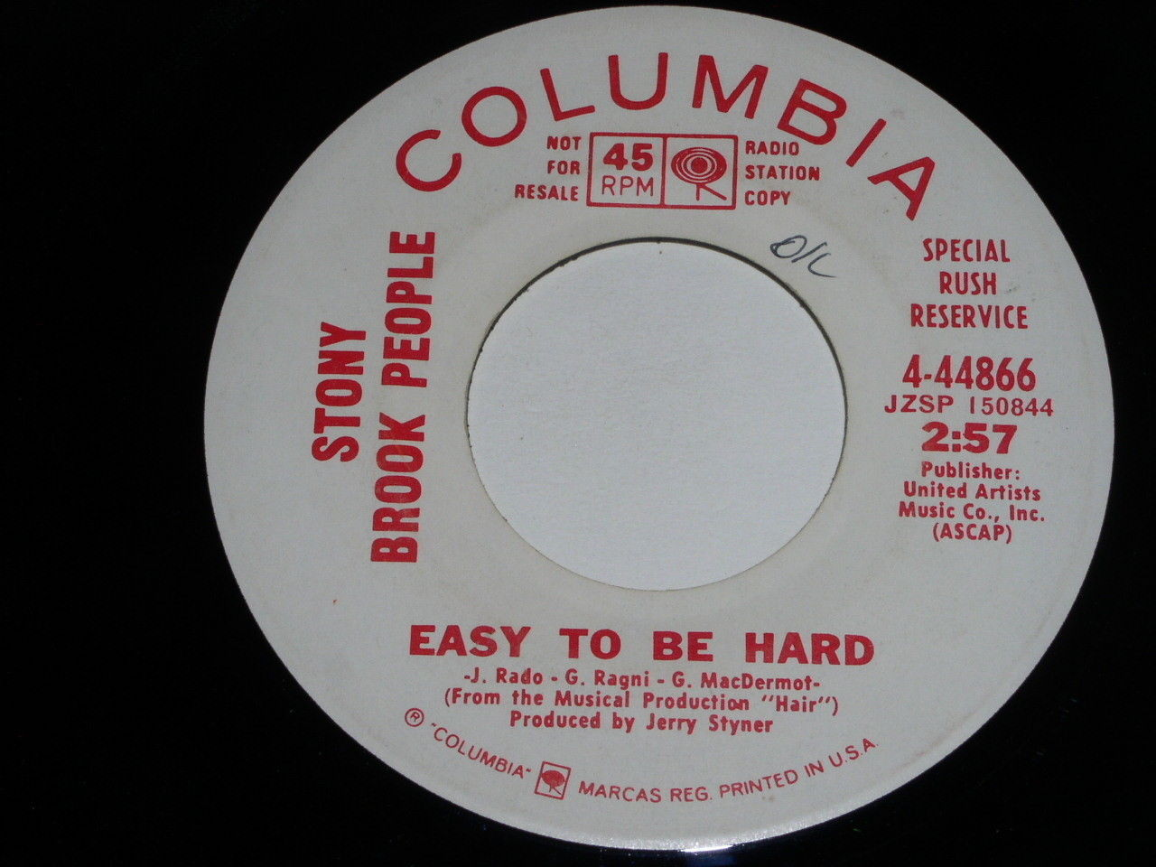 Stony Brook People Easy To Be Hard 45 Rpm Record Vintage Columbia Promotional