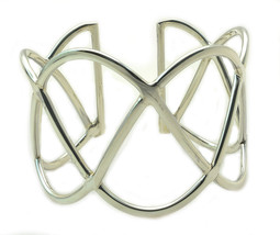 "Solid Sterling Silver Sine Cut 1.5""  Wide Cuff Bangle Bracelet 35.6G NEW"