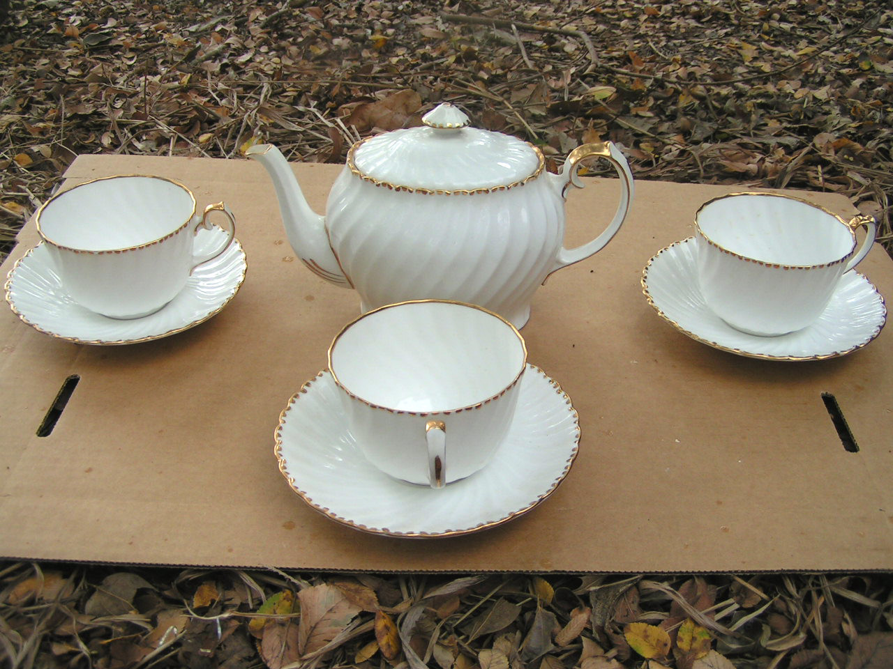 Gladstone bone china old grecian flute teapot cup saucer set
