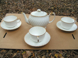 Gladstone bone china old grecian flute teapot cup saucer set thumb200