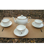 Old Grecian Flute, Bone China Cup Saucer teapot set Gladstone Gold dots - $129.98