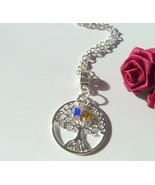 Personalized Mother's Crystal Birthstone Silver Tree of Life Necklace - $14.99