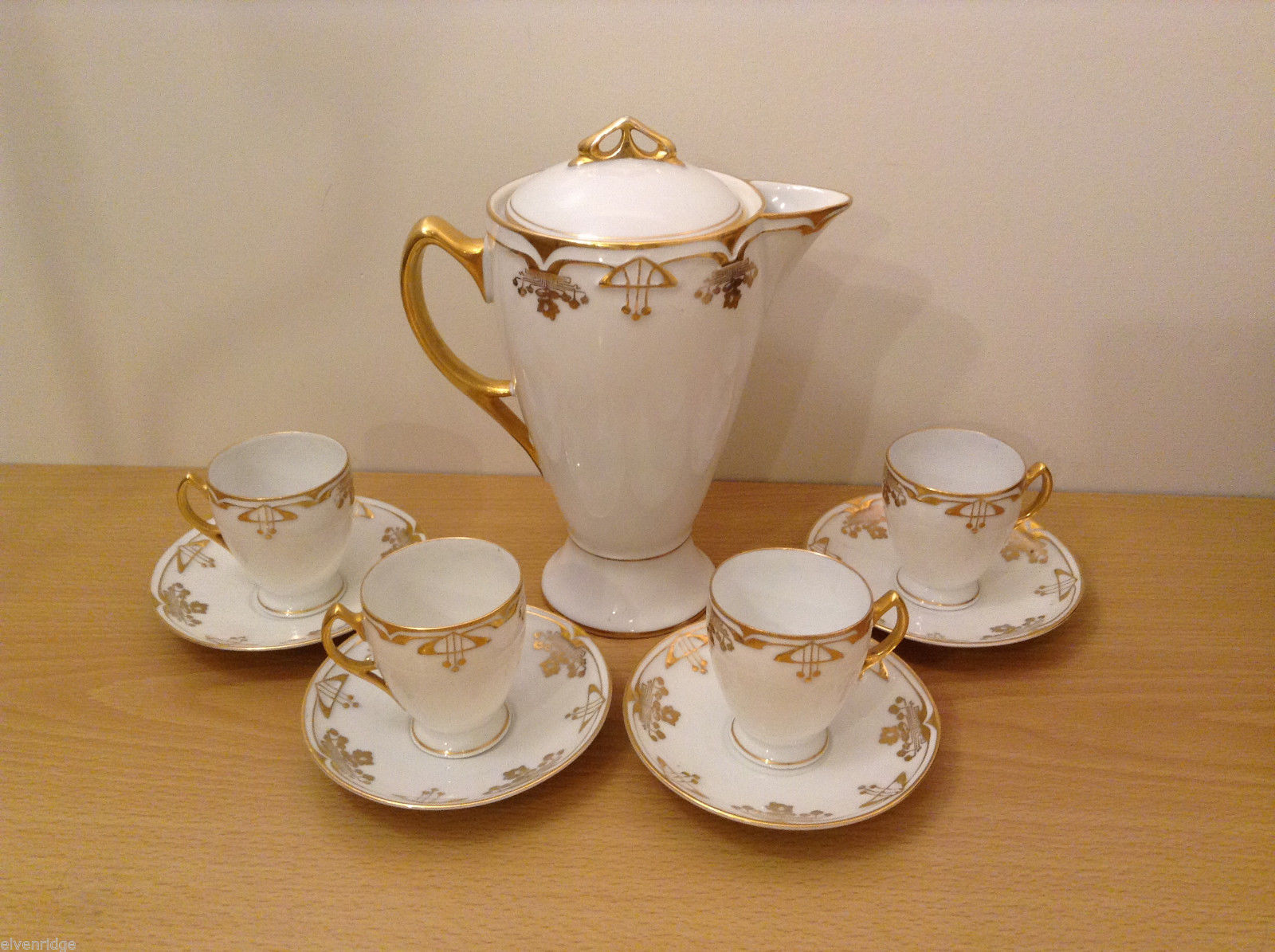 Antique 1910's Fine China Coffee Set White and Gold Secessionist Style PRUSSIAN