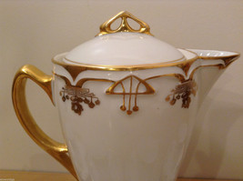 Antique 1910's Fine China Coffee Set White and Gold Secessionist Style PRUSSIAN image 5