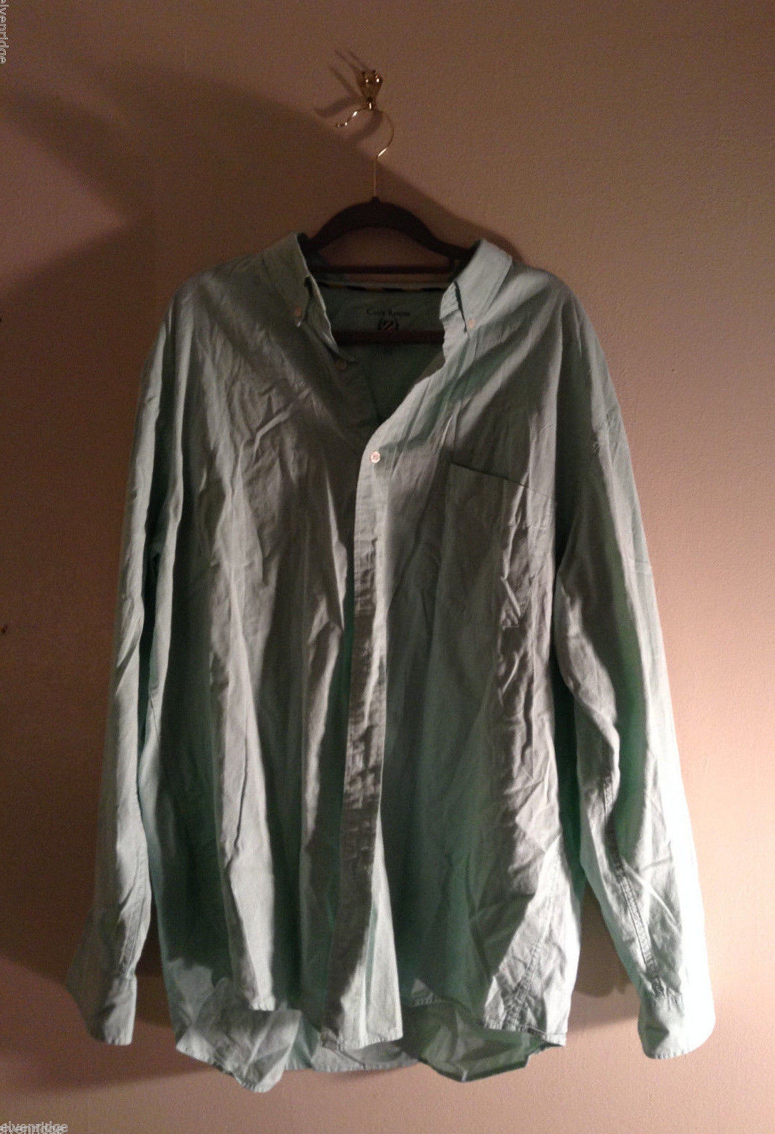 Club Room Men's Size XL Mint Green Button-Down Dress Shirt Striped Lining Detail