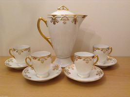 Antique 1910's Fine China Coffee Set White and Gold Secessionist Style PRUSSIAN image 2