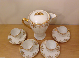 Antique 1910's Fine China Coffee Set White and Gold Secessionist Style PRUSSIAN image 3