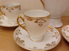 Antique 1910's Fine China Coffee Set White and Gold Secessionist Style PRUSSIAN image 4