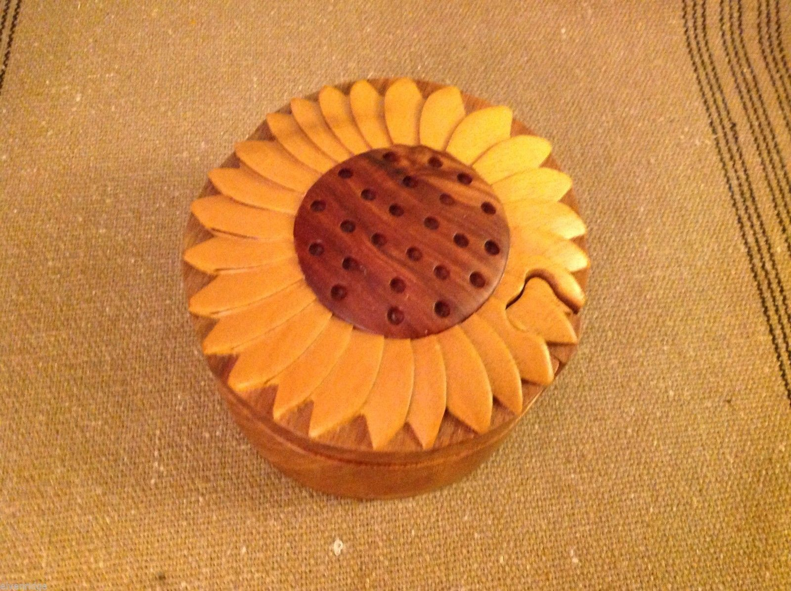 Primary image for Hand carved wood puzzle box cute sunflower