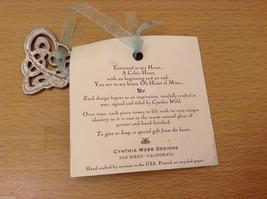 NWT Pewter Metal Handmade Celtic Heart Hanging Ornament Cynthia Webb Handmade image 4