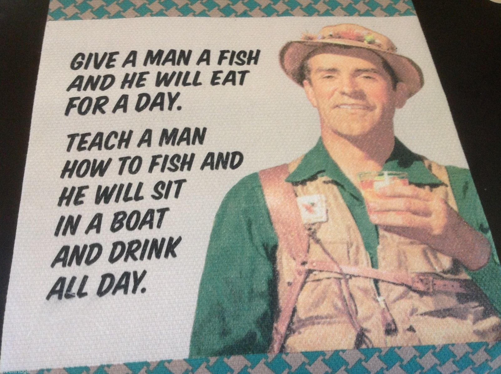 Multi color Cotton silk screen kitchen Towel teach man to fish he'll drink beer