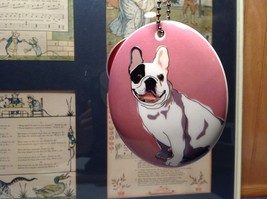 Oval Ceramic Bull Dog Lavender Background Ornament w Metal Chain Department 56