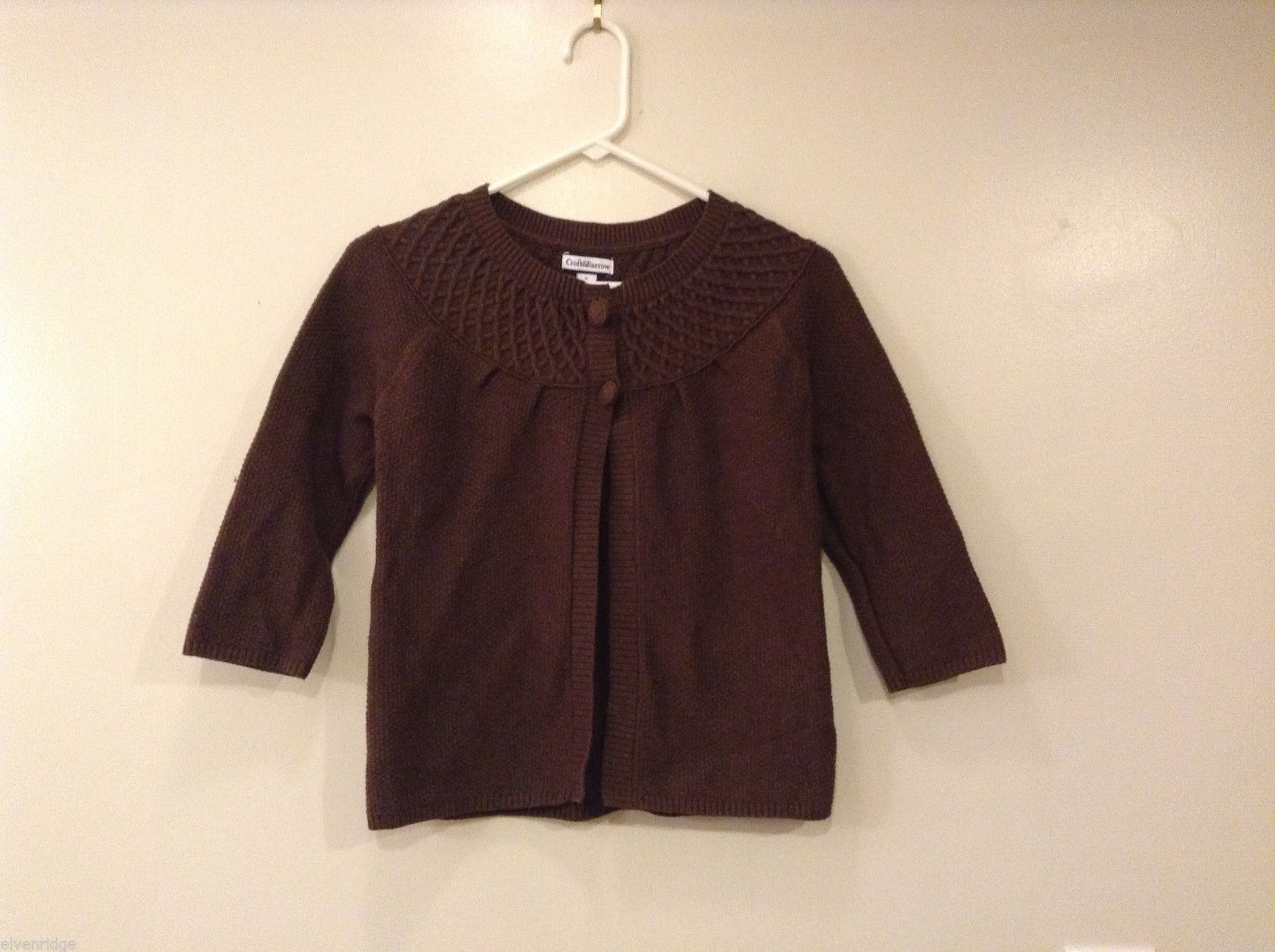 Womens Croft and Barrow Dark Brown Two Button Cardigan 100% Cotton Size S