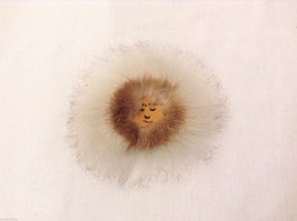Unique Handmade Brown & White Fur and Leather Eskimo Face Felted Back Pin Brooch