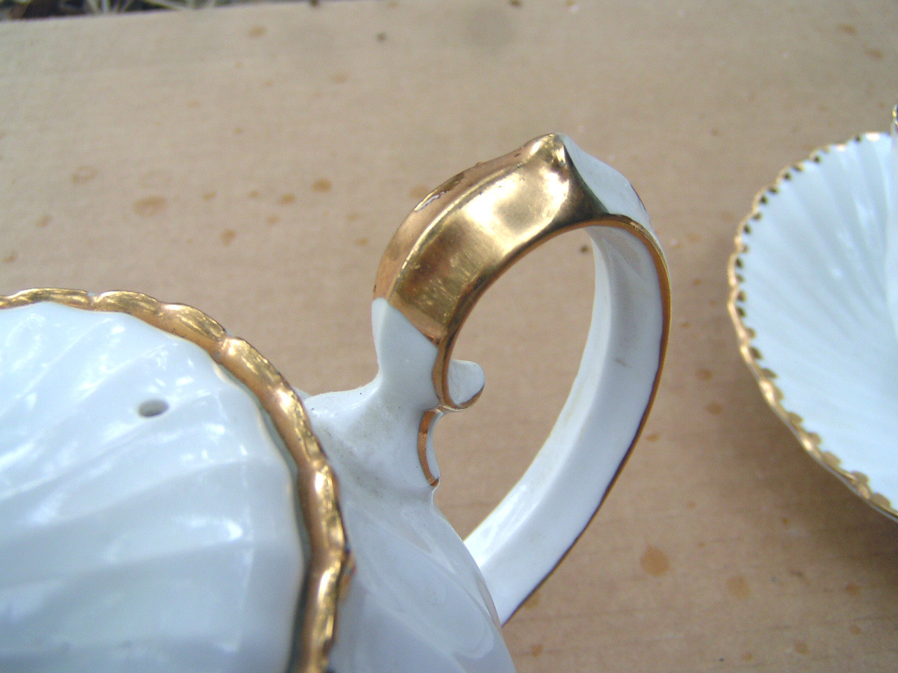 Old Grecian Flute, Bone China Cup Saucer teapot set Gladstone Gold dots