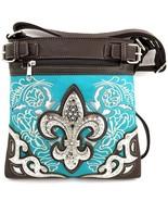 Rhinestone Fleur De Lis Messenger Bag Cross Bod... - $35.99