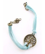 VINTAGE HAND WOVEN BLUE ROPE CHAIN LEATHER BRACELET METAL TREE 8 1/2 INCHES - $4.95