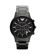 EMPORIO ARMANI AR2453 - MENS BLACK IP BRACELET CHRONO WATCH - $115.89