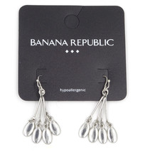 New Pair of Silver Tone Dangle Earrings with Four Drops by Banana Republ... - $6.44