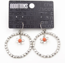 New Pair of Dangle Earrings with Coral Bead Flower Drop by Chico's #C2 - $6.44