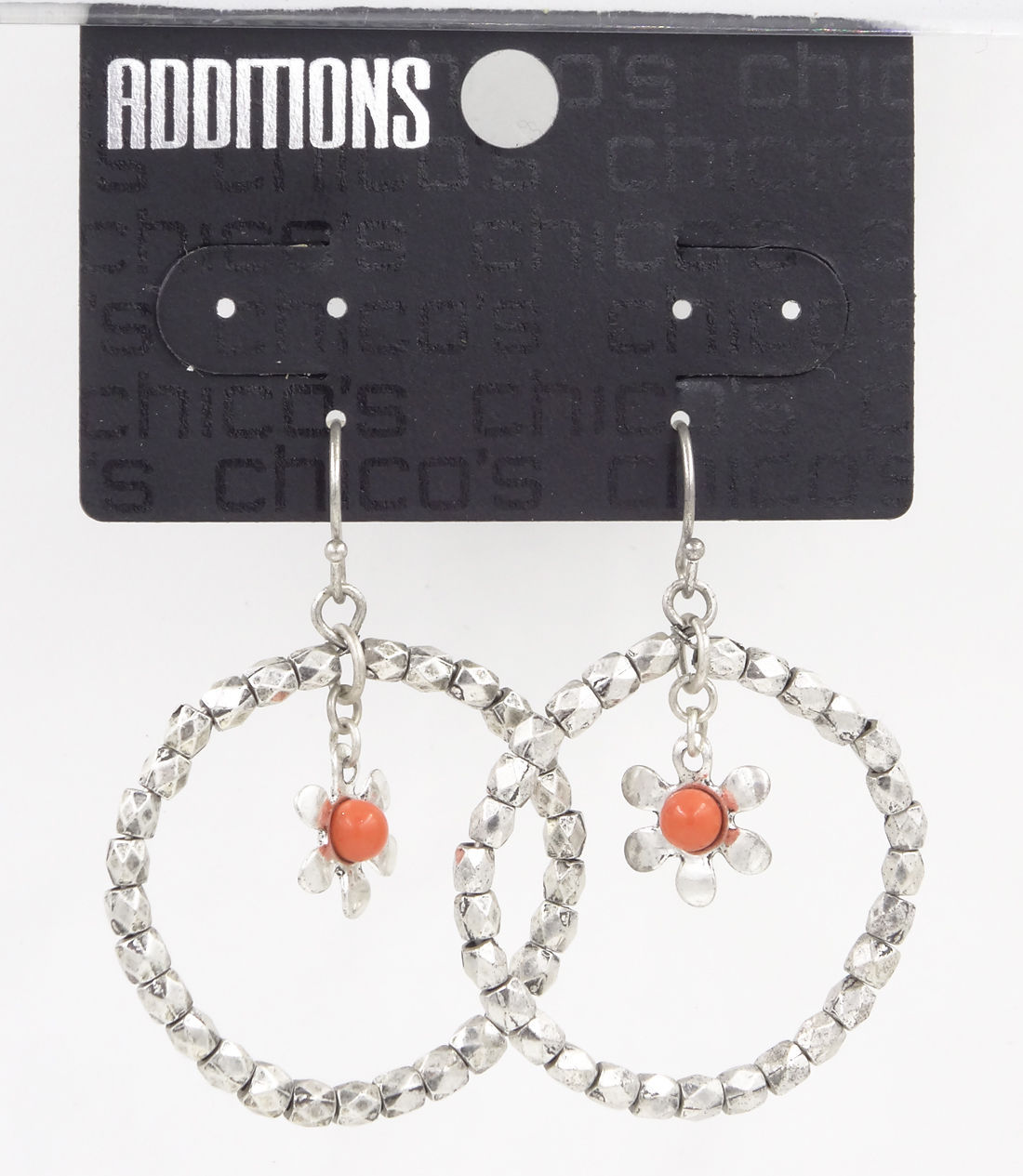 New Pair of Dangle Earrings with Coral Bead Flower Drop by Chico's #C2